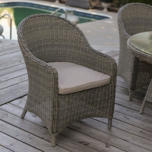 Mingle All Weather Wicker Patio Dining Chair Set of 2 Contemporary Outd