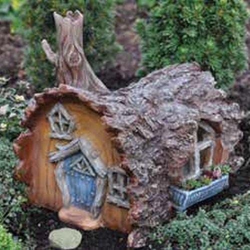 Fairy gardening log house fairy home contemporary for Home decorations amazon