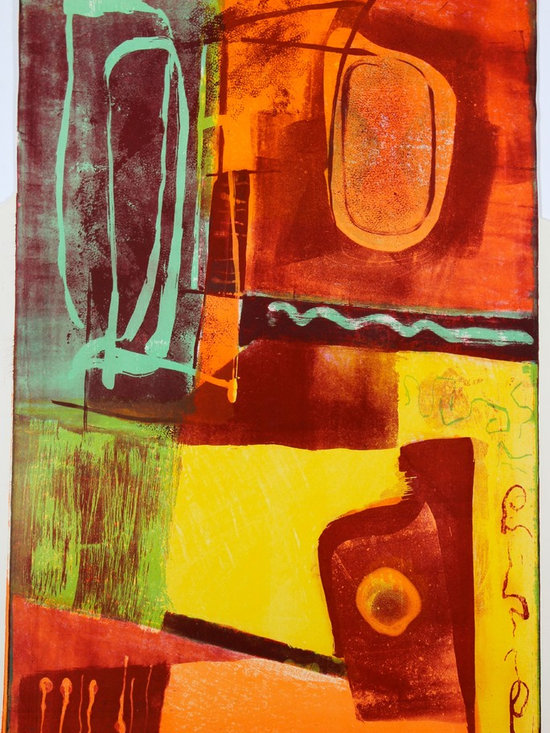 Lost Art Salon - Original Vivid Jerry Opper Stone Lithograph Abstract, 1940-50s - This late 1940s-Early 1950s stone lithograph on paper colorful abstract is by California artist Jerry Opper (b.1924). After graduating from Hollywood High School, he worked in movie studios and attended art classes at Choiunard Art Institute. In 1942 he was drafted into the army and was then able to study at the Colorado Springs Fine Arts Center while his outfit was stationed in Colorado. After he was discharged in 1945 he returned to Chouinard and his work in movie studios until 1947, when he moved to San Francisco. Mr. Opper then enrolled at the California School of Fine Arts. Opper�۪s prints have been included in several major shows throughout the country: Oakland Art Gallery; Sacramento State Fair; San Francisco Museum of Art; International Color Lithography Exhibition at Cincinnati, Ohio; Pennell Print Show at the Library of Congress, Washington D.C.; Brooklyn Museum Print Show; Los Angeles County Fair, Pomona; City of Paris Rotunda Gallery, San Francisco. Unframed, shipped in standard sized archival mat.