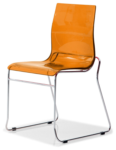 Gel T Stackable Dining Chair Transparent Orange Set Of 2