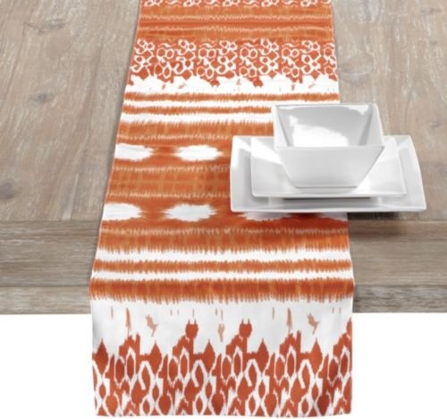 Kamal Runner, Orange contemporary-tablecloths
