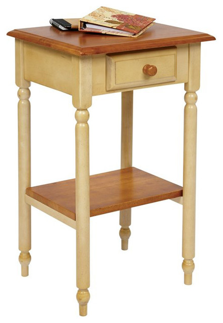 Office star country cottage telephone table in antique for Yellow farmhouse table