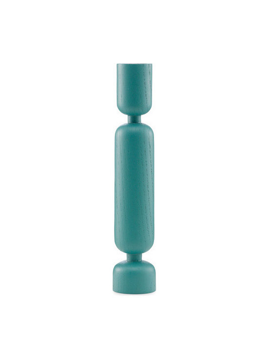 Modern Wooden Candleholder, Turquoise - The modern candleholder was skillfully turned from a single piece of wood. Its deep, curved incisions are reminiscent of how a tree looks when being chopped down.