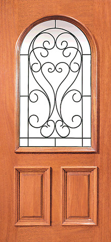 Mahogany insulated radius lite home single door with for Insulated front doors for homes