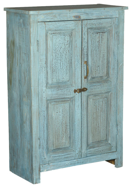 Palisade Distressed Blue 2 Door Reclaimed Wood Cabinet - Rustic - Storage Cabinets