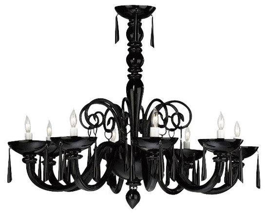 Cyan Design Clemente Black Murano Style Glass Chandelier - A gorgeous Murano glass chandelier in dramatic black makes a great addition to any room.