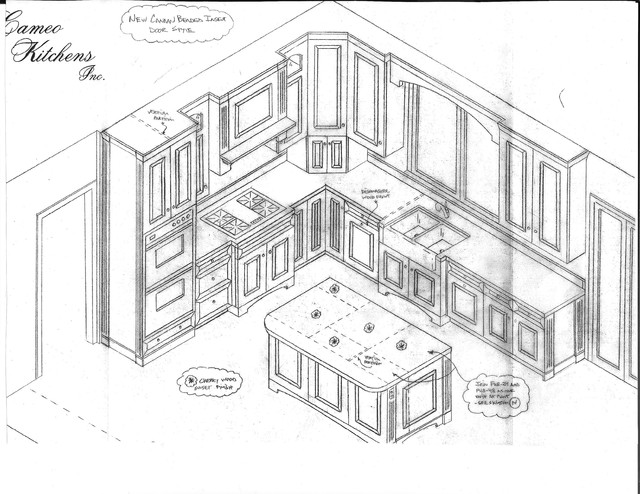 Kitchen Isometric View Drawing Sketch Coloring Page