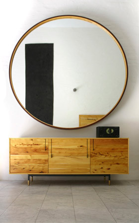 Bddw leather mirror contemporary wall mirrors by dddw for Huge circle mirror