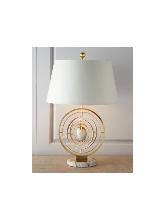 "John-Richard Collection - John-Richard Collection Modern ""Armillary"" Lamp - Modern armillary-style lamp features a series of rings encasing a marble egg. The rings actually spin, so you can change the look of the lamp with the flick of a wrist. From the John-Richard Collection. Handcrafted of cast brass and marble. Patina fi..."