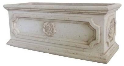 cast stone aged white finish rectangular planter