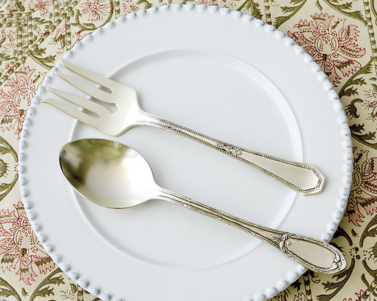 Ballard Designs - Estate 2pc Serving Set - Coordinates with our Estate Flatware. Great with mixed dinnerware. Dishwasher safe. We found the originals at a flea market and had the vintage patterns for our Estate Serving Set recreated in every pretty detail. Each piece has a different design for a collected vintage look. Crafted of brass and 18/8 stainless steel for a nicely weighted feel.Estate Serving Set features: . . .
