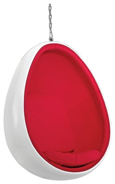 Egg fiberglass hanging chair midcentury hanging chairs by modern manhattan - Fiberglass egg chair ...