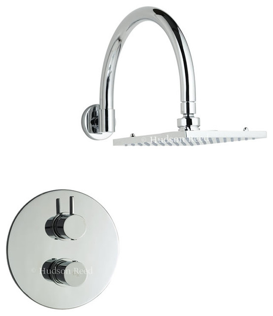 Clio Twin Concealed Thermostatic Shower Valve & Fixed Square Head contemporary-showerheads-and-body-sprays