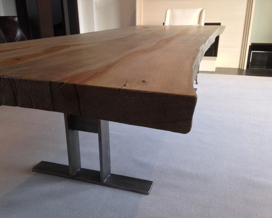 "Concrete Tables - Woodform Concrete Slab Table top, custom sizes available.  This top is 11' x 48"" x4"" thick.  No bark live edge.  Base priced separate.  Driftwood Color.  Please call for spec sheets."
