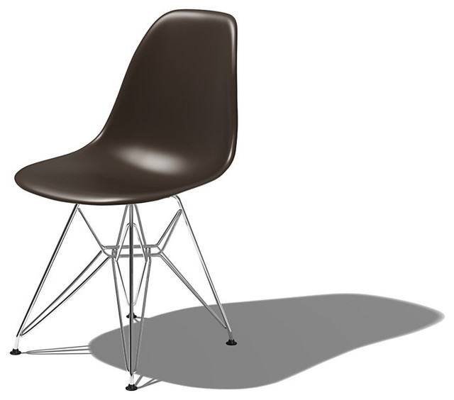Eames Molded Plastic Side Chair with Eiffel Tower Base modern-dining-chairs