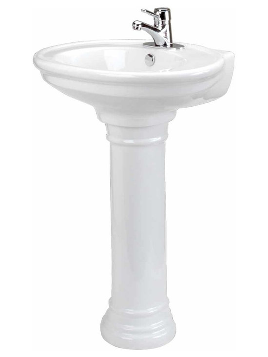 """Renovators Supply - Pedestal Sinks China W Doric Pedestal Sink 4""""""""   10665 - Pedestal Sinks: This sink has an overflow and accepts drains with overflows made to fit 1 3/4 inch drain holes. These white vitreous china bathroom pedestal sinks measure 33 1/2 inch high, 26 inch wide, and projects 20 1/2 inch."""
