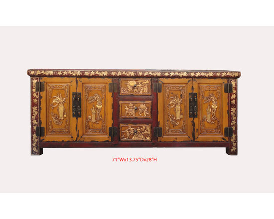 Chinese ChaoZhou Antique Gold Flower Vase Carving Painting Cabinet - This is a Chinese antique lower cabinet which is made of solid elm wood.  The front of cabinet has very detail golded flower&vase carving painting on it.   It was used as lower altar cabinet, and now it can be used as TV entertainment stand.
