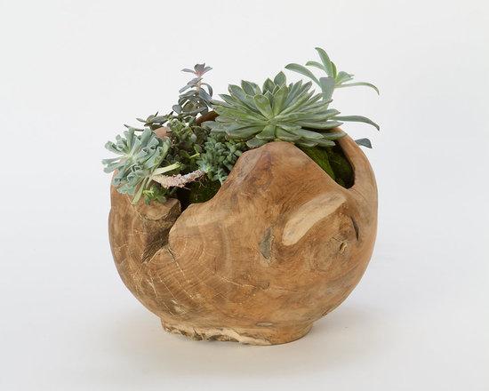 Carved Teak Footed Planter -