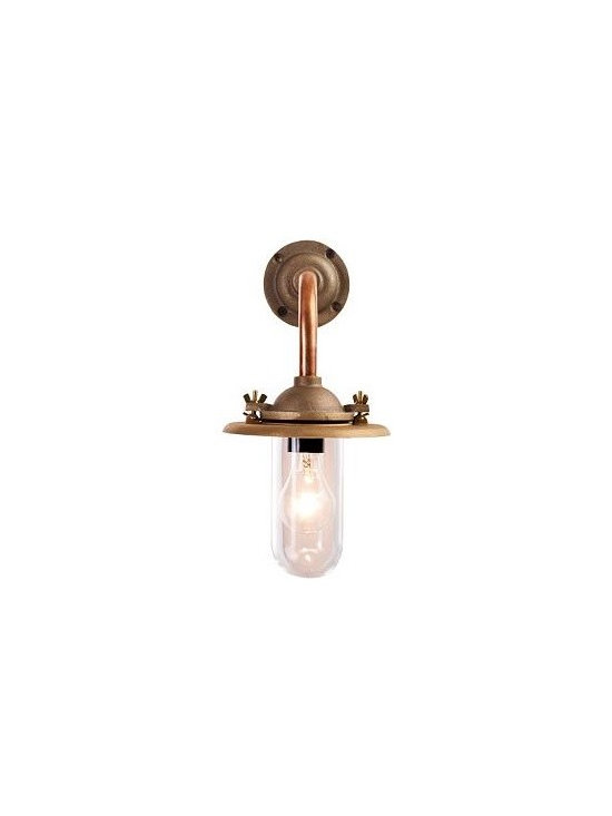 Deck Light | Design Within Reach - This brass dock light has roots back to the shipyards of 19th century London. It would definitely bring a marine feel to a boy's bedroom and would look great on the wall beside a twin bed.
