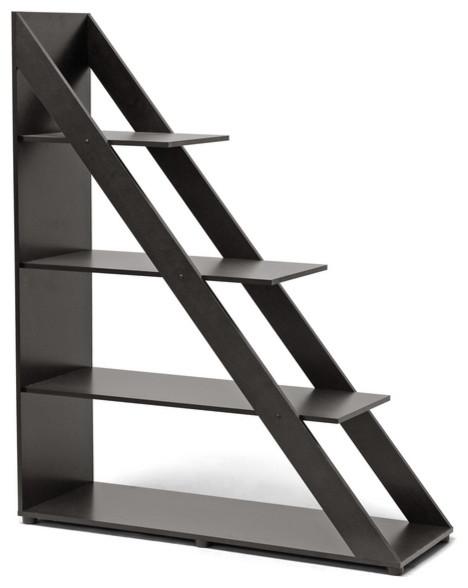 Psinta Dark Brown Modern Shelving Unit - Contemporary - Bookcases - by Baxton Studio
