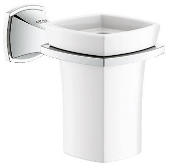 Grohe 40626000 Grandera 1-Hole Wall Mount Ceramic Tumbler With Holder, StarLight contemporary-everyday-glassware