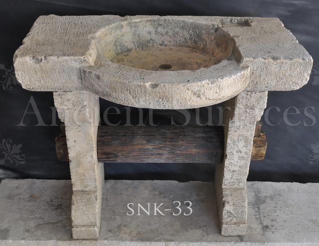 Mediterranean Bathroom Sinks: Free Standing Antique Limestone Sink