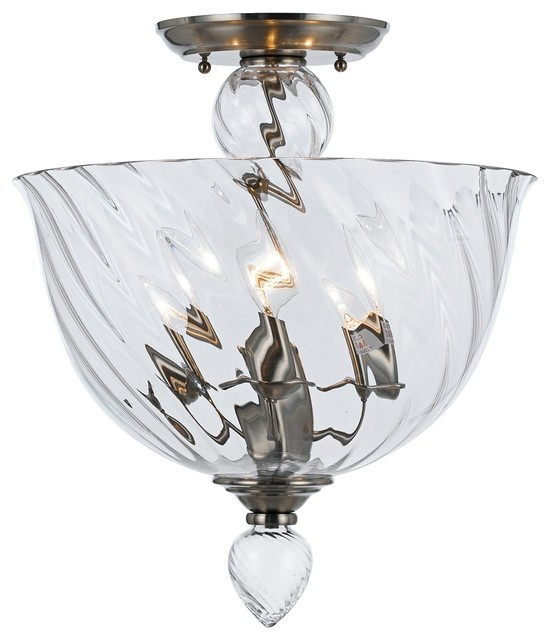"Contemporary Crystorama Harper 14"" Wide Clear Glass Ceiling Light contemporary-ceiling-lighting"