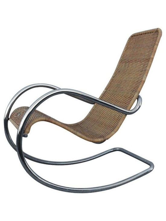 Pre-owned 1970s Modern Italian Chrome Rocking Chair - A fabulous 1970s modern chrome and rattan Italian rocking chair. The chair is in good vintage condition with some wear due to age and use. There is some noticeable wear to the rattan that needs repair (see pictures).
