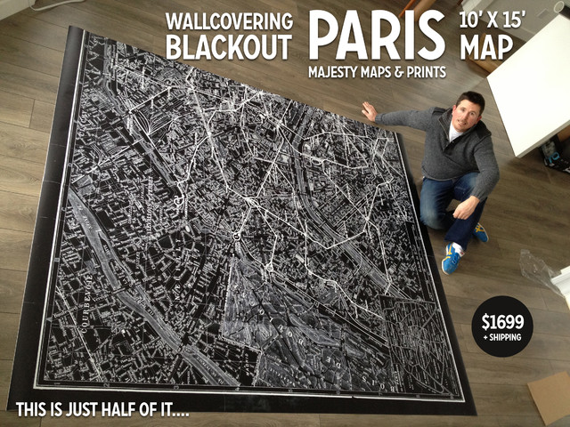 10' x 15'  Paris Map Wallcovering Blackout traditional-wallpaper
