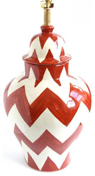 "Zigzag Lamp, Orange/White, 10"" X 18"" transitional-table-lamps"