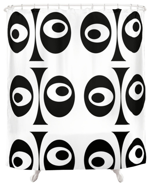 Modern Black & White Shower Curtain,White & Black Shower Curtain contemporary-shower-curtains