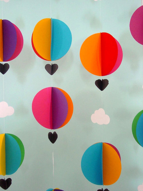 Hot Air Balloons & Clouds Garland by Young Hearts Love eclectic kids decor