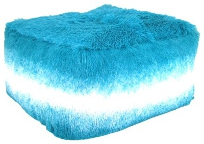 Room Essentials Tonal Fuzzy Pouf Aqua Contemporary