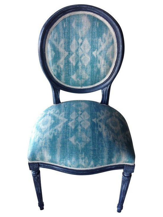 Louis Style Dining Chairs in Ikat Print - Set of 4 -