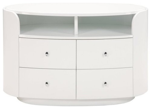 Emily Media Chest - White contemporary-dressers