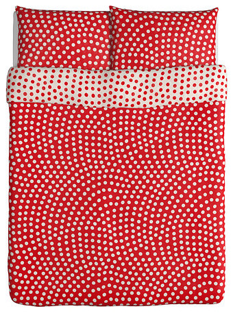 Stenklver Duvet Cover and Pillowcases, White/Red modern duvet covers