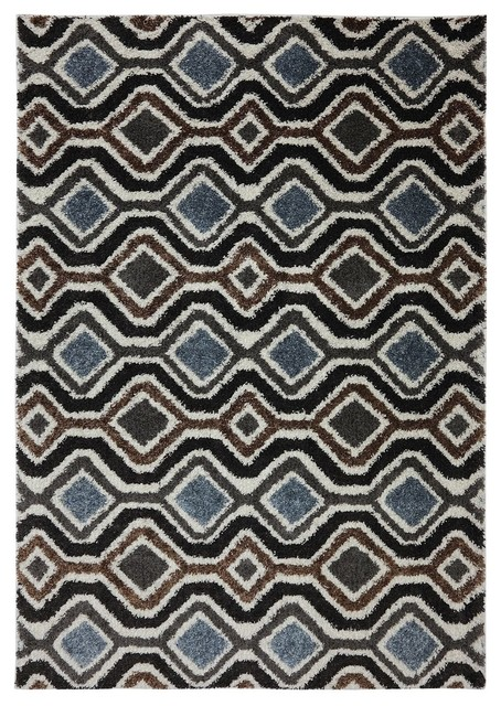 Contemporary Augusta 8'x11' Rectangle Ivory-Black Area Rug contemporary-rugs