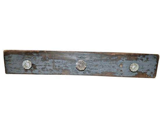 Reclaimed Wood Coat Rack - Three vintage glass doorknobs + re-claimed wood with chippy grey paint = unique coat rack.