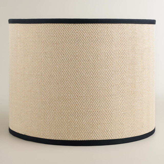 Modern Cream Herringbone Drum Table Lamp Shade White