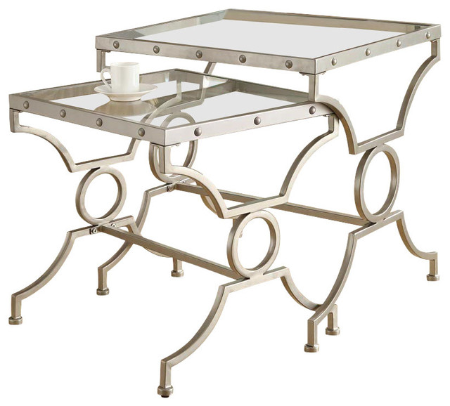 Satin Silver 2Pcs Nesting Table Set with Tempered Glass contemporary-side-tables-and-end-tables
