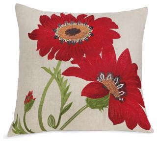 Crimson Flower Throw Pillow traditional-decorative-pillows