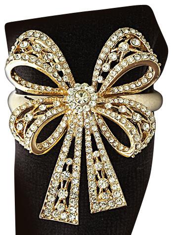 L'Objet Antique Gold Bowtie Napkin Rings, Yellow Swarovski Crystal Set/4 contemporary-napkin-rings