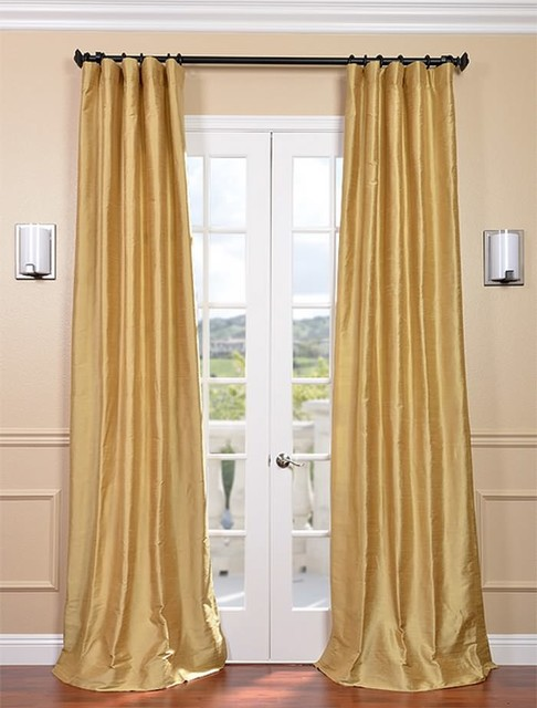 sunrise gold textured dupioni silk curtain traditional