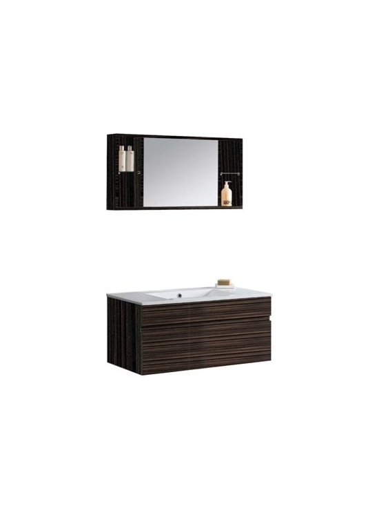 "Vigo Industries - VIGO 35"" Single Bathroom Vanity with Medicine Cabinet - Ebony - Elegance is at your fingertips with this beautiful VIGO bathroom vanity. No other brand can match VIGO's style, quality and design. Cabinet is made of quality constructed engineered wood with wood veneers in an ebony finish which consists of an anti-scratch paint surface for enhanced durability and frequent use. Features Features one large sliding drawer made with soft closing hardware Includes solid white porcelain counter, pre-drilled for a single hole faucet Includes a medicine cabinet with integrated shelves on each side of the mirror Includes solid brass, chrome-plated drain assembly All mounting hardware included Vanity is fabricated for wall mount installation with all mounting hardware included This cabinet is shipped assembled 5 Year Limited Warranty Faucet NOT included How to handle your counterView Spec Sheet"