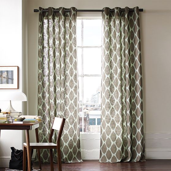 Ikat ogee linen window panel modern curtains by west elm for Bedroom inspiration west elm