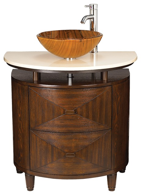 Walnut finish marble top glass basin sink console for Marble top console sink