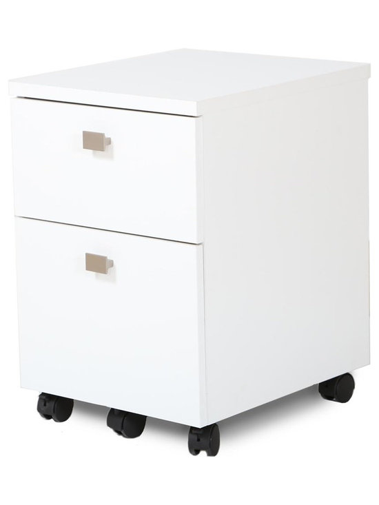 South Shore - 2-Drawer File Cabinet in Pure White - Tools and accessories not included. Contemporary style. Non-toxic laminated particle boards. Metal handles with satin nickel finish. File drawers come with plastic rails. Four casters with built-in brakes. Supporting caster under the lower drawer. Full-extension metal slides on the lower drawer. Metal drawer slides on the upper drawer. Warranty: Five year limited. Made in Canada. Assembly required. 15.75 in. W x 18.25 in. D x 20.5 in. H (38 lbs.). Assembly Instructions