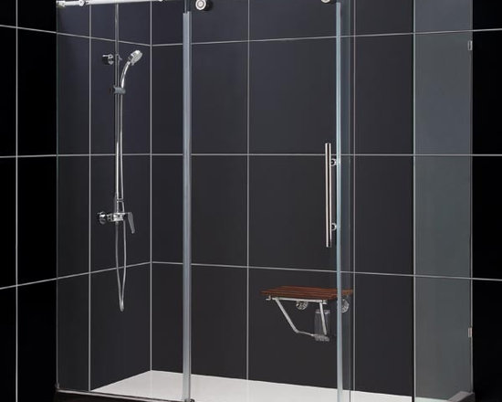 "DreamLine Enigma 72"" x 36"" Shower Enclosure SHEN-60367212 - Add the amazing look of a heavy glass shower enclosure to your bathroom design project. The DreamLine™ ENIGMA Collection shower enclosures offer unique design, flawless functionality and exceptional value. The 1/2"" thick heavy glass shower enclosure, with the exclusive ClearGlass™ protective coating, includes a beautiful door which slides effortlessly on oversized stainless steel wheels over an impressive stainless steel track bar. Features like the anti-splash threshold and convenient handle provide additional elements of advanced design for this world-class shower enclosure. With flexibility of either left-wall or right-wall installation and options of polished or brushed finish for its all-stainless steel hardware, the ENIGMA shower enclosure will be the centerpiece of the Bathroom of Your Dreams™"