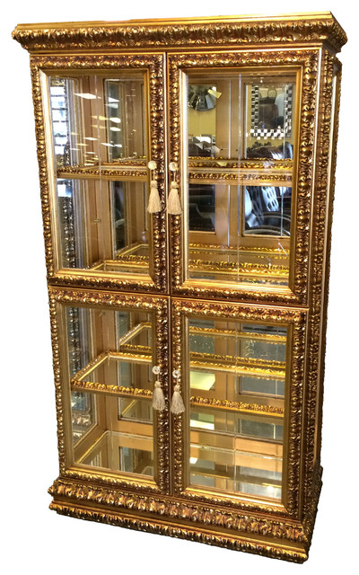 """Display China Cabinet, Gold, 42"""" - Traditional - Bookcases - by UNIQUE FURNITURE"""
