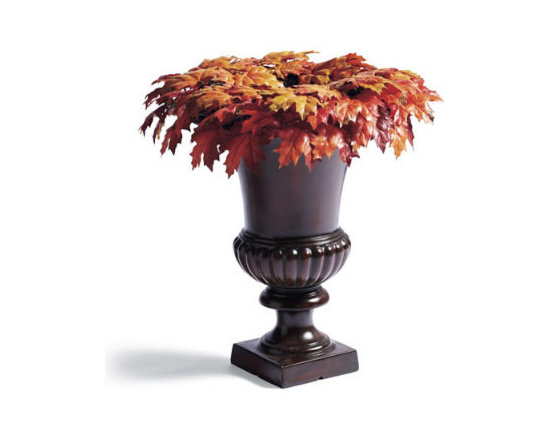 """Grandin Road - New England Brown Leaves Urn Filler - Faux foliage urn filler, swag, wreath, and garland in fall colors. All pieces are built on a grapevine base. Urn filler has a 5"""" opening for displaying bundles of tall twigs, wheat grass or pumpkins (not included). For covered outdoor or indoor display. Our New England Maple Leaf Urn Filler, Swag, Wreath, and Garland look as real as if you had gathered the leaves yourself, yet these lush pieces will last for seasons to come. A rich melange of variegated maple leaves is punctuated with lifelike berries and natural twigs. Plus, there's a shape to fit nearly any area of your home.  .  .  .  ."""